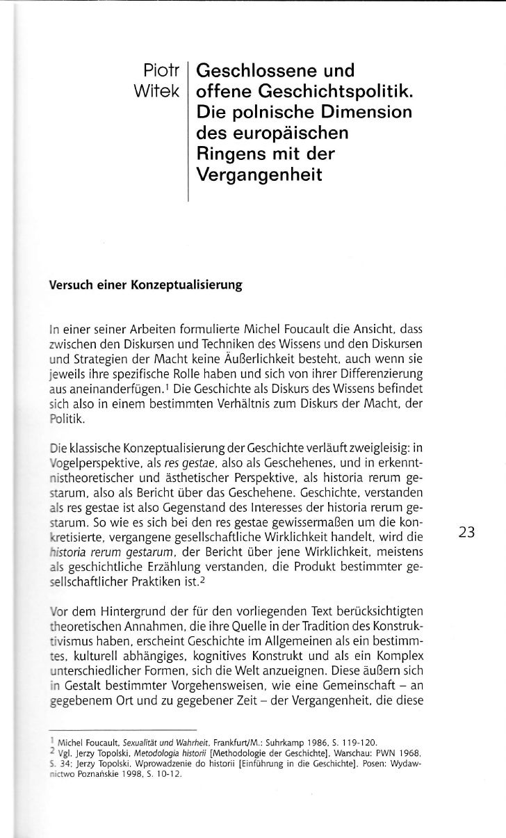 Piotr          Geschlossene und                       Witek           offene Gesch ichtspol itik.                         ...