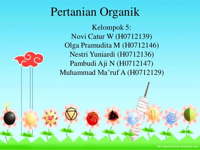 Pertanian Organik           Kelompok 5:    Novi Catur W (H0712139)  Olga Pramudita M (H0712146)   Nestri Yuniardi (H071213...