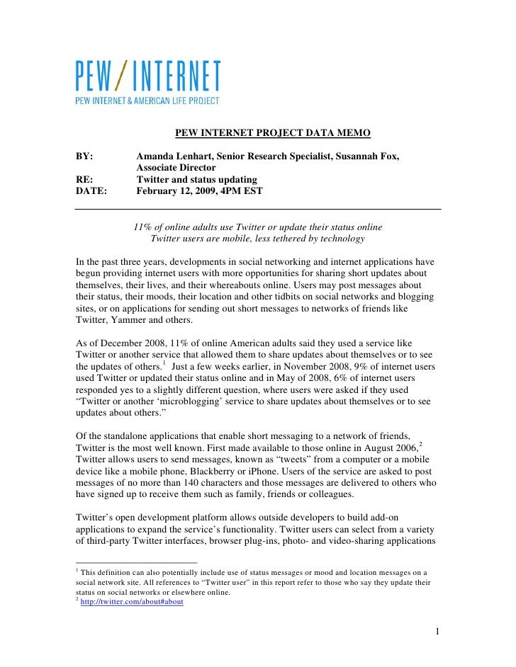 PEW INTERNET PROJECT DATA MEMO  BY:               Amanda Lenhart, Senior Research Specialist, Susannah Fox,               ...
