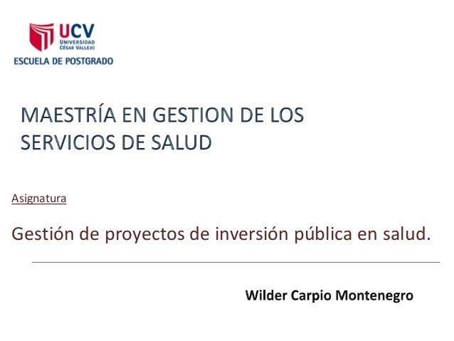 AsignaturaGestión de proyectos de inversión pública en salud.