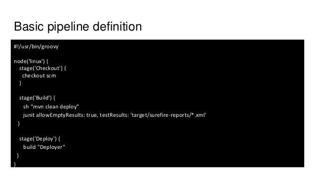 "Basic pipeline definition #!/usr/bin/groovy node('linux') { stage('Checkout') { checkout scm } stage('Build') { sh ""mvn cl..."