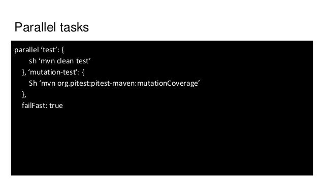 """Share information between nodes/executors node { stage('Build') sh(""""mvn -B clean package"""") stash excludes:'target/', inclu..."""