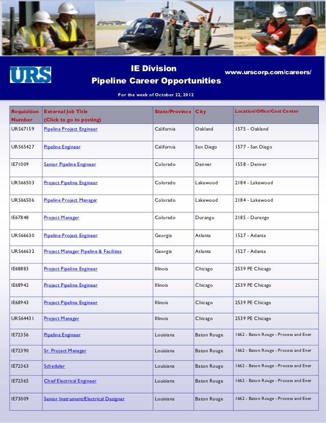 IE Division                                 www.urscorp.com/careers/                                  Pipeline Career Oppo...