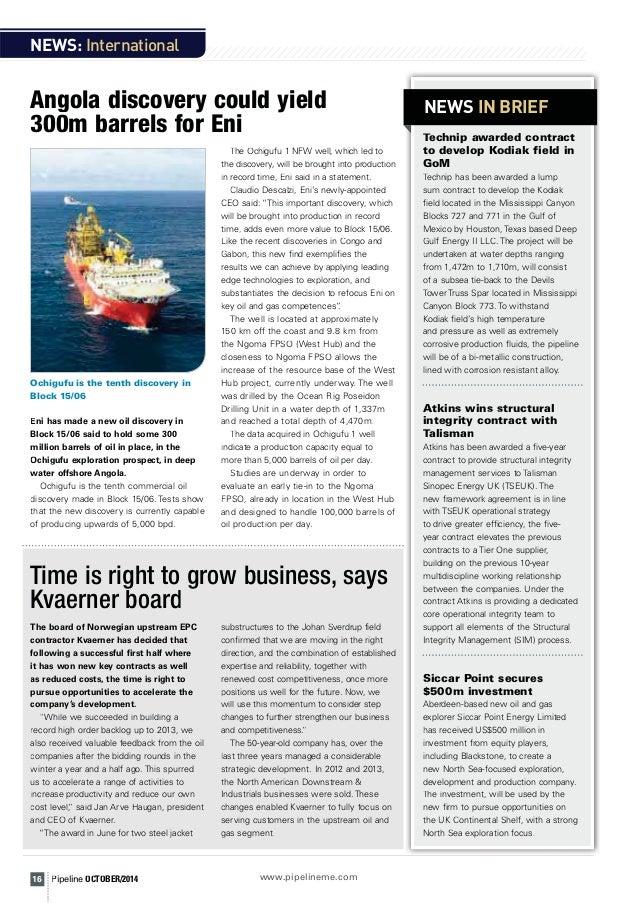 Pipeline Oil & Gas Magazine - October 2014 Featuring Thorne