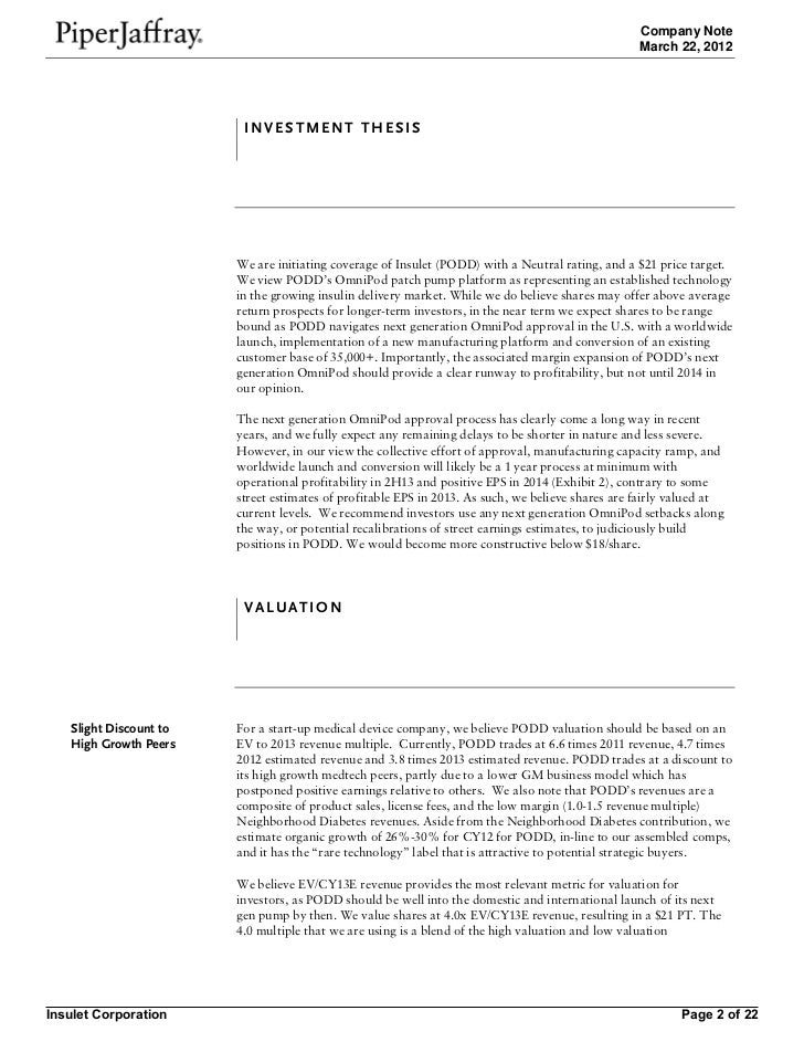 Piper Jaffray company note on insulet corp 3 22-12