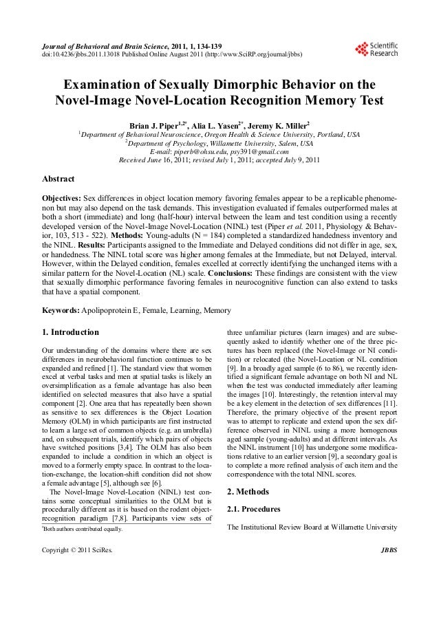 Journal of Behavioral and Brain Science, 2011, 1, 134-139 doi:10.4236/jbbs.2011.13018 Published Online August 2011 (http:/...