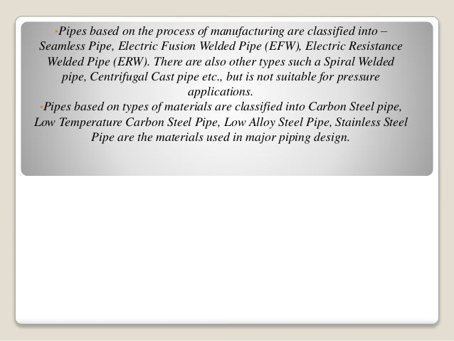 Pipe & its wall thickness calculation