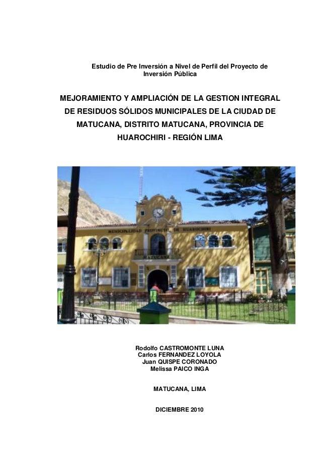 Estudio de Pre Inversión a Nivel de Perfil del Proyecto de                       Inversión PúblicaMEJORAMIENTO Y AMPLIACIÓ...