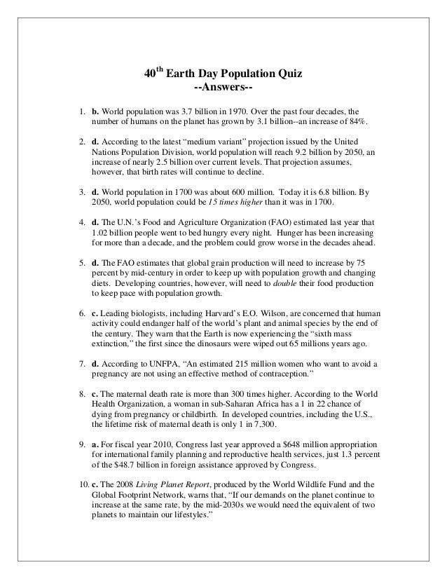 Pi population quiz