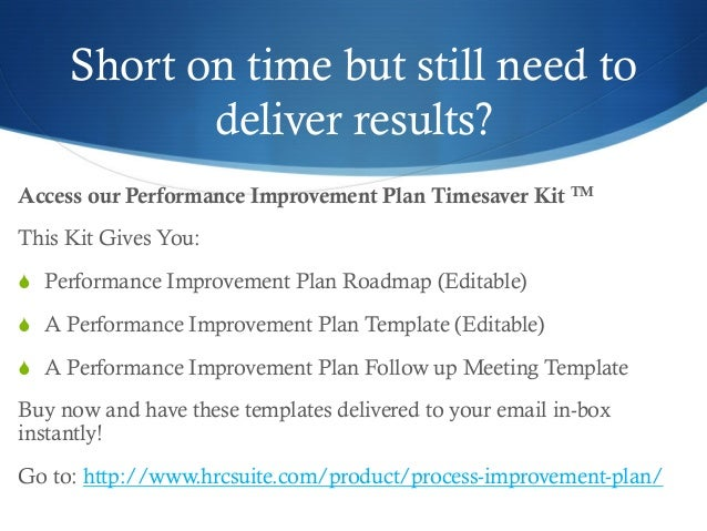 ... Ongoing Reference; 12.  Performance Improvement Plan Template