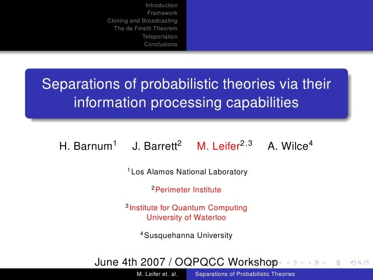 Introduction                         Framework           Cloning and Broadcasting             The de Finetti Theorem      ...