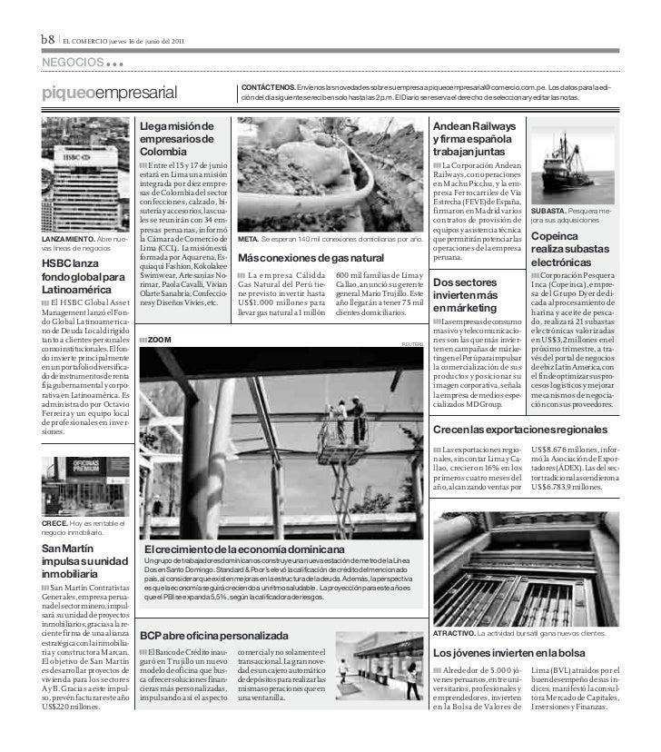 b8 I EL COMERCIO jueves 16 de junio del 2011negociospiqueoempresarial                                                   CO...