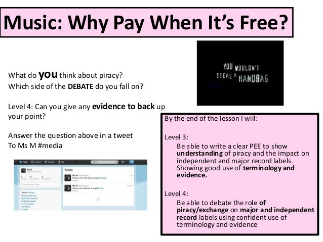 Music: Why Pay When It's Free?What do you think about piracy?Which side of the DEBATE do you fall on?Level 4: Can you give...