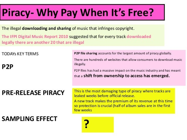 Piracy- Why Pay When It's Free?The illegal downloading and sharing of music that infringes copyright.The IFPI Digital Musi...