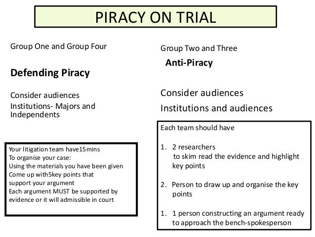 PIRACY ON TRIALGroup One and Group Four                  Group Two and Three                                           Ant...