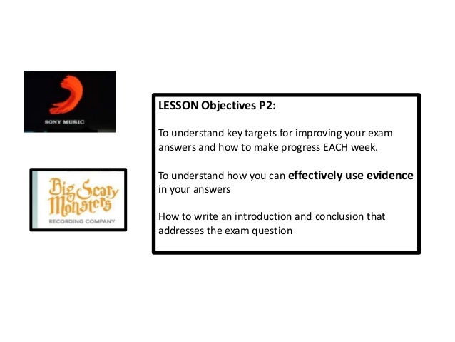 LESSON Objectives P2:To understand key targets for improving your examanswers and how to make progress EACH week.To unders...