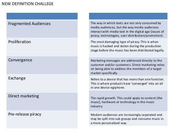 NEW DEFINITION CHALLEGE  Fragmented Audiences    The way in which texts are not only consumed by                          ...