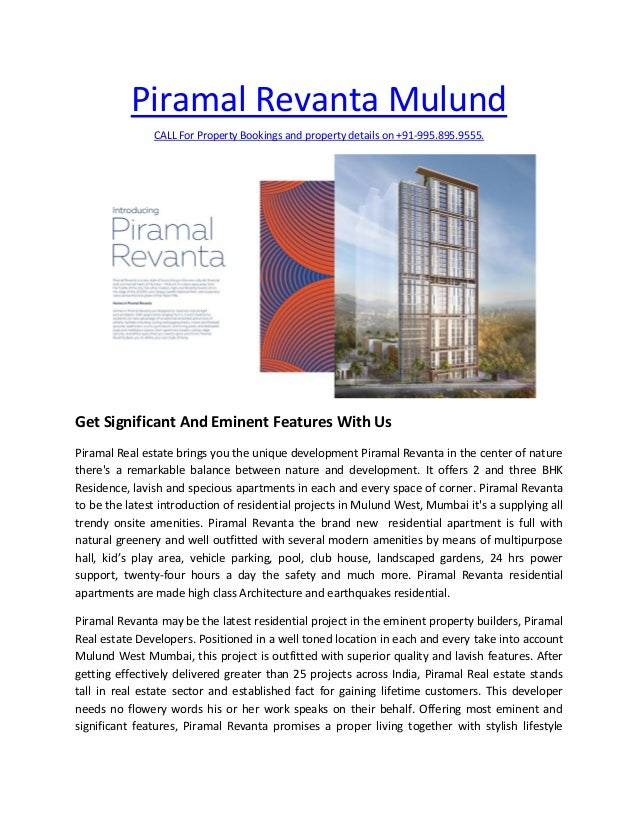 Piramal Revanta Mulund CALL For Property Bookings and property details on +91-995.895.9555. Get Significant And Eminent Fe...