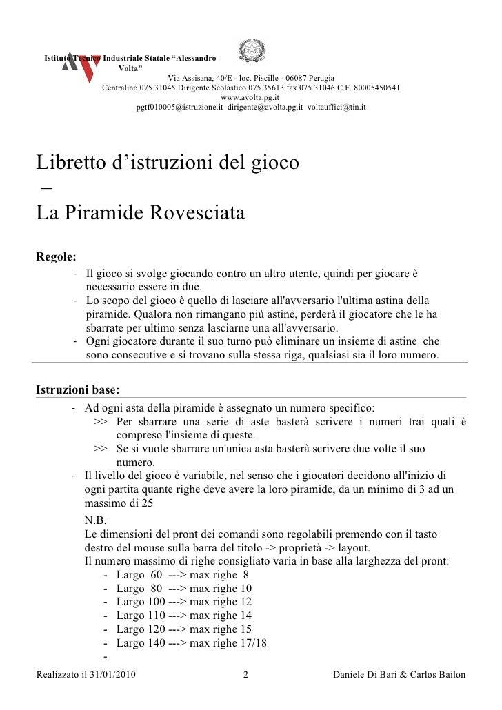 """Istituto Tecnico Industriale Statale """"Alessandro                       Volta""""                                     Via Assi..."""