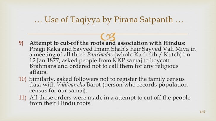 Attempt to cut-off the roots and association with Hindus: PragjiKaka and Sayyed Imam Shah's heir SayyedValiMiya in a meeti...