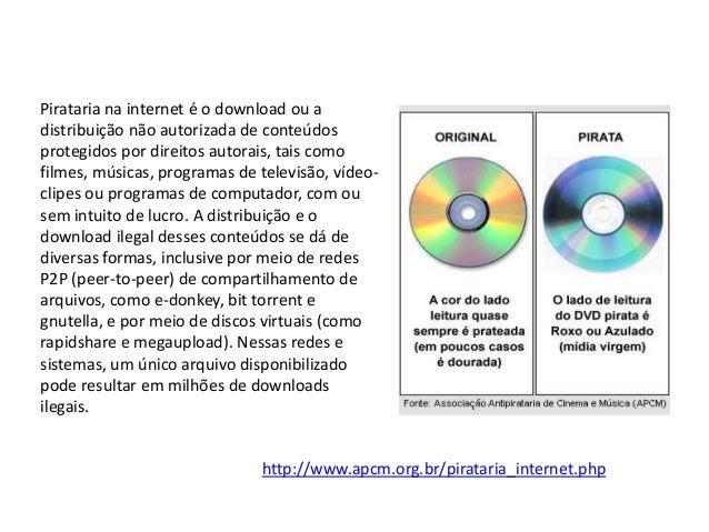 Pirataria na internet é o download ou adistribuição não autorizada de conteúdosprotegidos por direitos autorais, tais como...