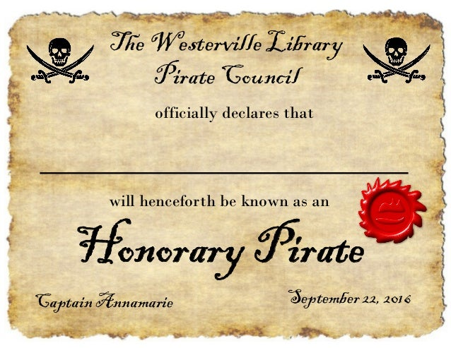 Pirate Party Certificate