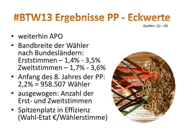 • Erststimmenzuwachs (2009:2013): rd. 20fach (wie auch Direktkandidaten) bei 3x mehr Mitgliedern • wo PiratenPartei im Lan...