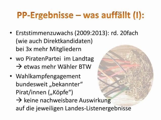 • Land BB: signifikante Unterschiede zwischen Wahlkreisen (WK): im Wahlkampf: ja im %-Ergebnis: nein • Land SN: mit Abstan...