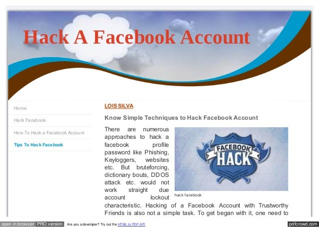 Know Simple Techniques to Hack Facebook Account