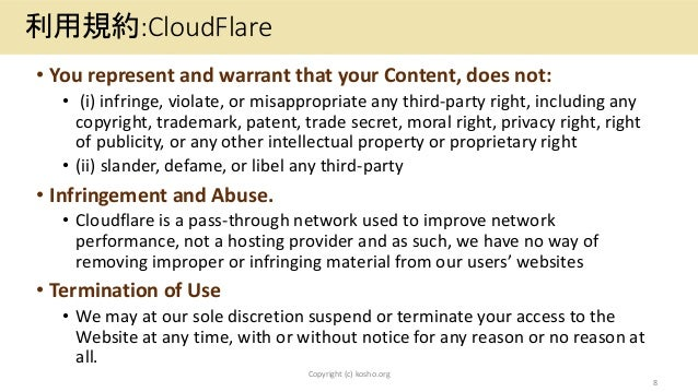 • You represent and warrant that your Content, does not: • (i) infringe, violate, or misappropriate any third-party right,...