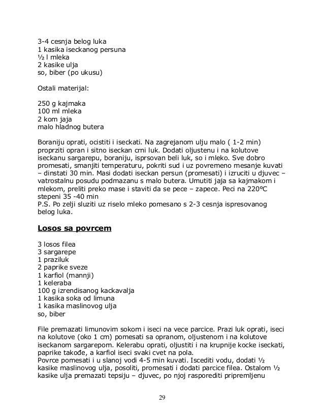 3-4 cesnja belog luka 1 kasika iseckanog persuna ½ l mleka 2 kasike ulja so, biber (po ukusu) Ostali materijal: 250 g kajm...