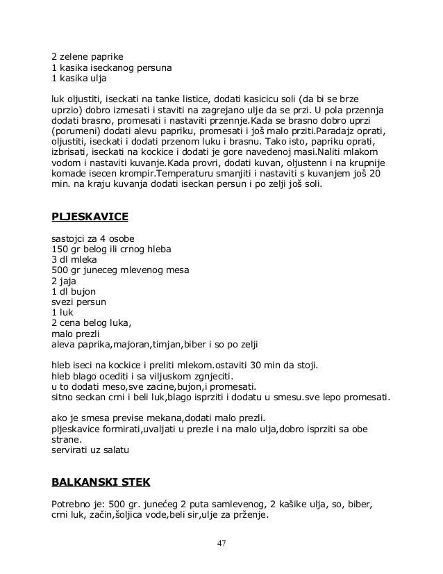 2 zelene paprike 1 kasika iseckanog persuna 1 kasika ulja luk oljustiti, iseckati na tanke listice, dodati kasicicu soli (...