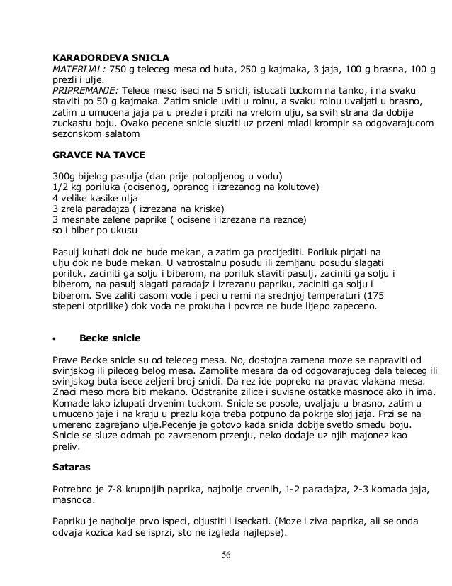 KARADORDEVA SNICLA MATERIJAL: 750 g teleceg mesa od buta, 250 g kajmaka, 3 jaja, 100 g brasna, 100 g prezli i ulje. PRIPRE...