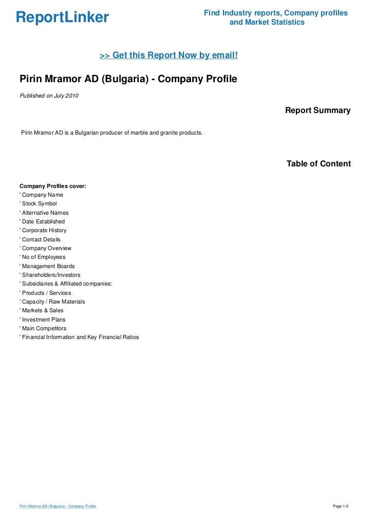 Pirin Mramor AD (Bulgaria) - Company Profile