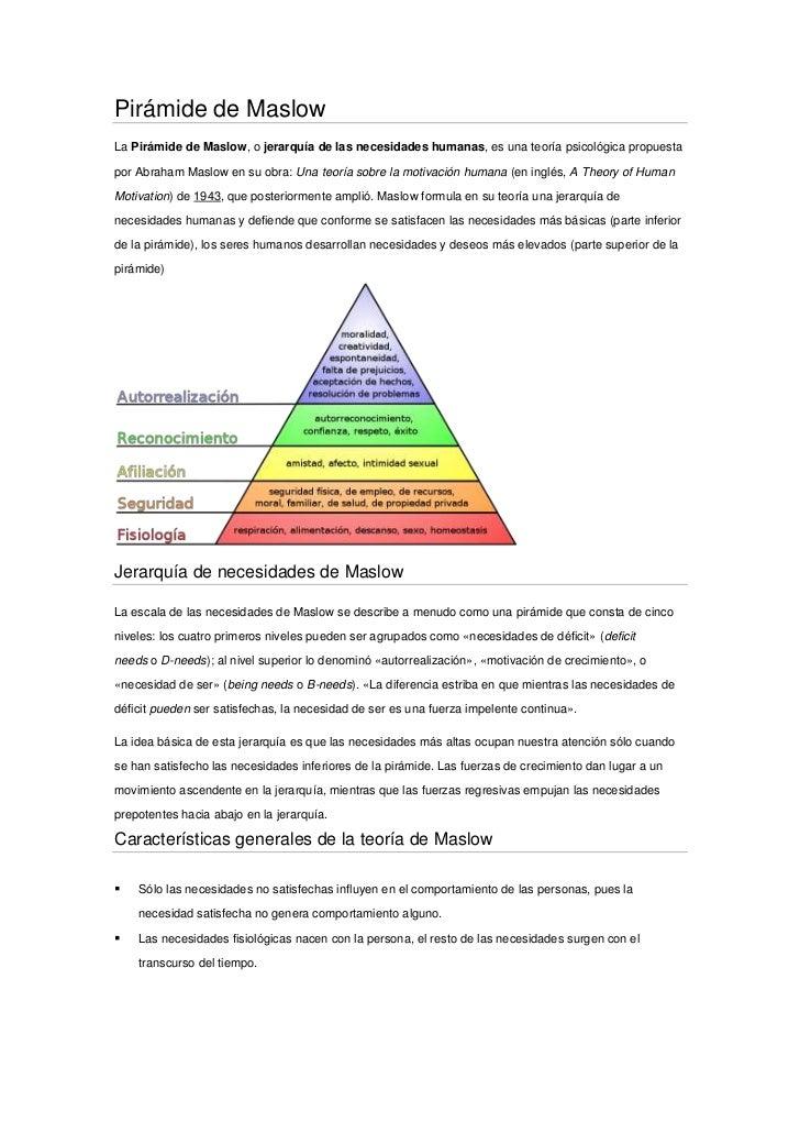 Pirámide de Maslow<br />LaPirámide de Maslow, ojerarquía de las necesidades humanas, es una teoríapsicológicapropuesta...