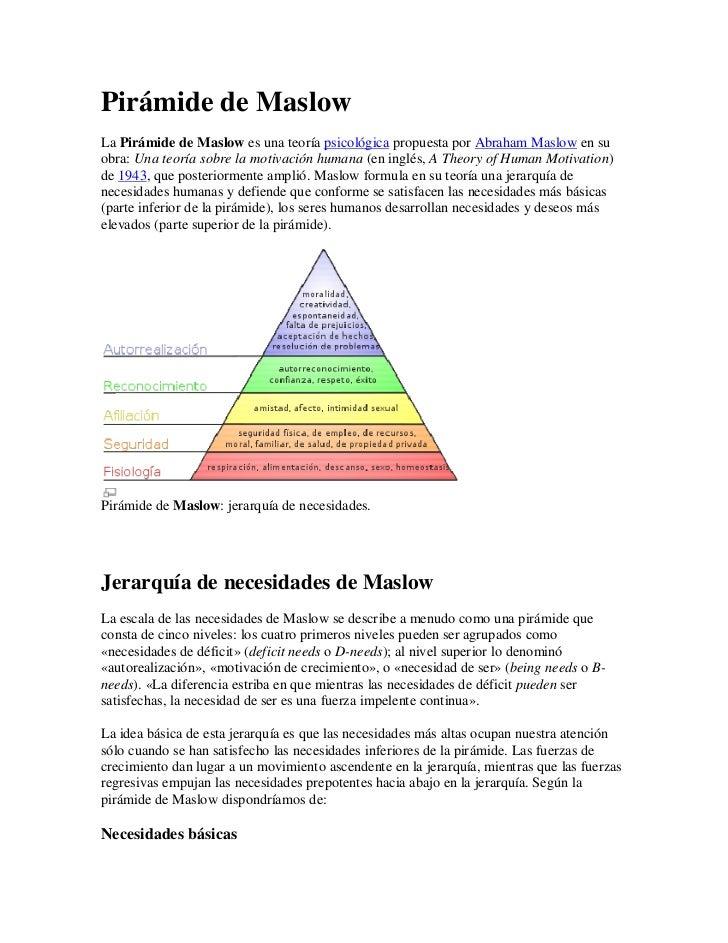 Pirámide de MaslowLa Pirámide de Maslow es una teoría psicológica propuesta por Abraham Maslow en suobra: Una teoría sobre...