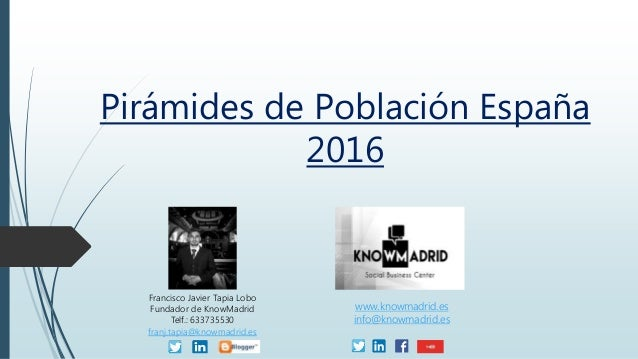 Pirámides de Población España 2016 Francisco Javier Tapia Lobo Fundador de KnowMadrid Telf.: 633735530 franj.tapia@knowmad...