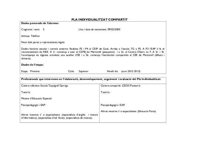 PLA INDIVIDUALITZAT COMPARTIT Dades personals de l'alumne: Cognoms i nom:  S  Lloc i data de naixement: 09/03/2000  Adreça...