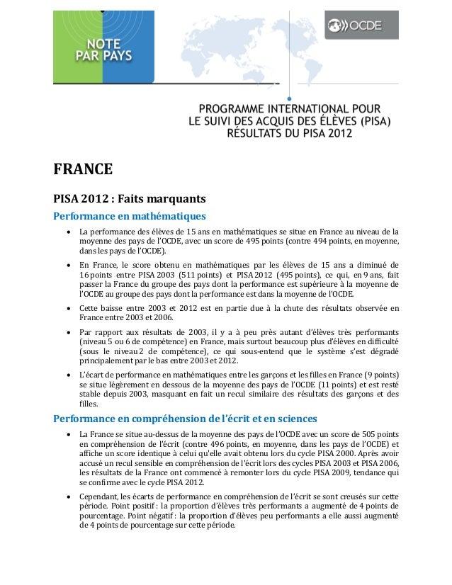 FRANCE PISA 2012 : Faits marquants Performance en mathématiques   La performance des élèves de 15 ans en mathématiques se...