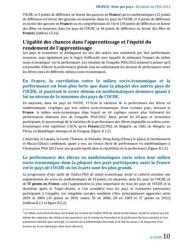 Pisa 2012 note sur les r sultats fran ais - Difference entre note 3 et note 3 lite ...