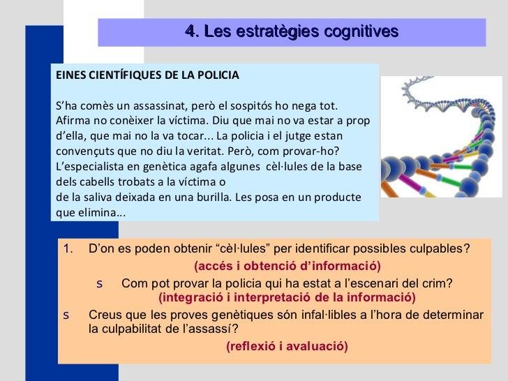 """4. Les estratègies cognitives <ul><li>D'on es poden obtenir """"cèl · lules"""" per identificar possibles culpables?  </li></ul>..."""
