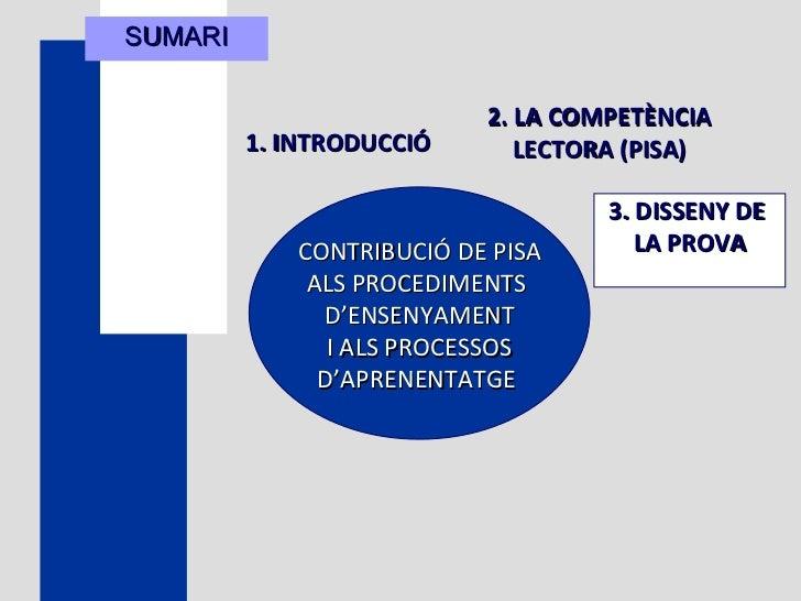 SUMARI 1. INTRODUCCIÓ   CONTRIBUCIÓ DE PISA ALS PROCEDIMENTS  D'ENSENYAMENT I ALS PROCESSOS D'APRENENTATGE   2. LA COMPETÈ...