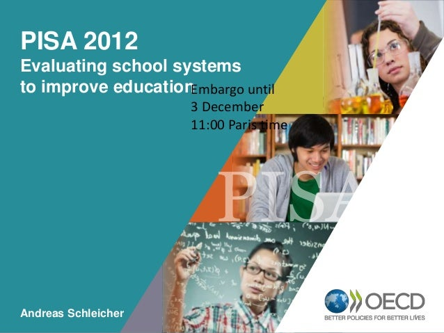 PISA 2012 Evaluating school systems to improve education Embargo until 3 December OECD EMPLOYER Paris time 11:00 BRAND  Pl...