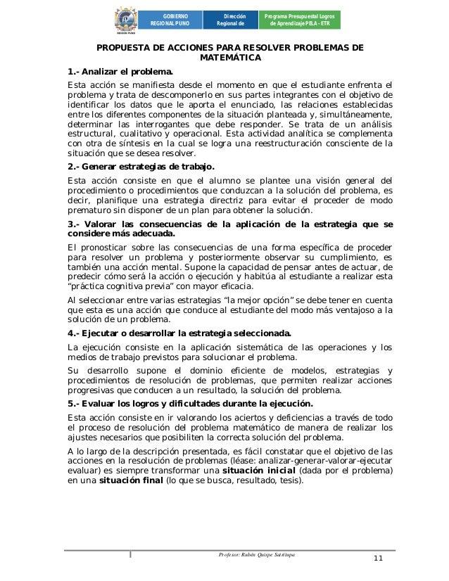 Profesor: Rubén Quispe Sairitupa 11  GOBIERNO  REGIONAL PUNO  Dirección  Regional de  Programa Presupuestal Logros  de Apr...