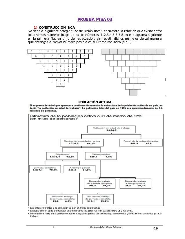 """PRUEBA PISA 03  Profesor: Rubén Quispe Sairitupa 19  1) CONSTRUCCIÓN INCA  Se tiene el siguiente arreglo """"Construcción Inc..."""