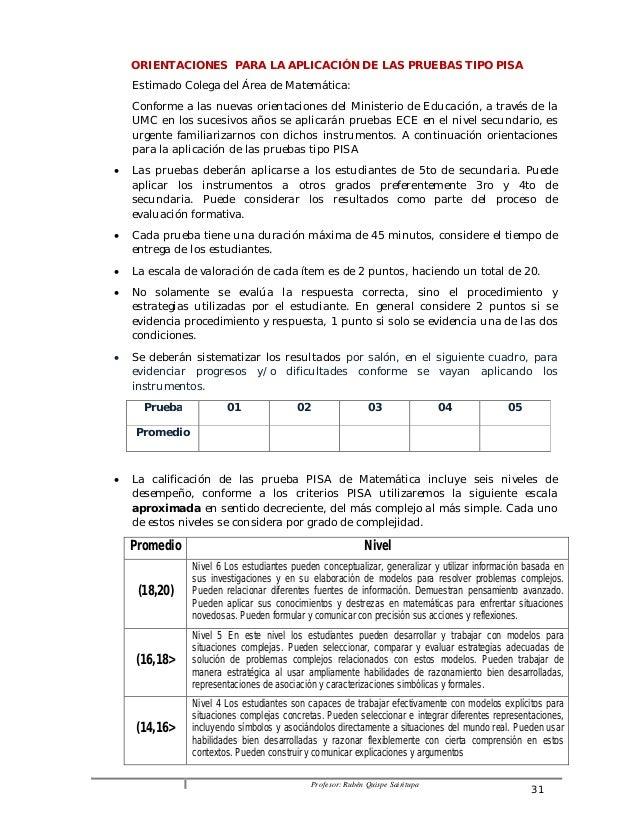 ORIENTACIONES PARA LA APLICACIÓN DE LAS PRUEBAS TIPO PISA  Estimado Colega del Área de Matemática:  Conforme a las nuevas ...