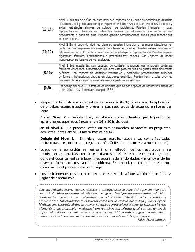 Profesor: Rubén Quispe Sairitupa 32  (12,14>  Nivel 3 Quienes se sitúan en este nivel son capaces de ejecutar procedimient...