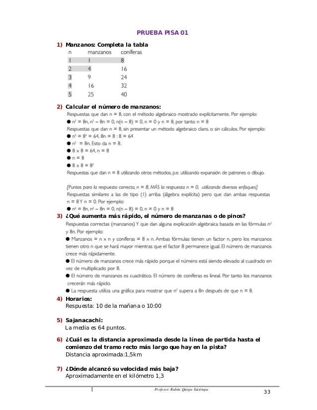 PRUEBA PISA 01  Profesor: Rubén Quispe Sairitupa 33  1) Manzanos: Completa la tabla  2) Calcular el número de manzanos:  3...
