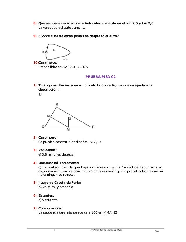 8) Qué se puede decir sobre la Velocidad del auto en el km 2,6 y km 2,8  Profesor: Rubén Quispe Sairitupa 34  La velocidad...