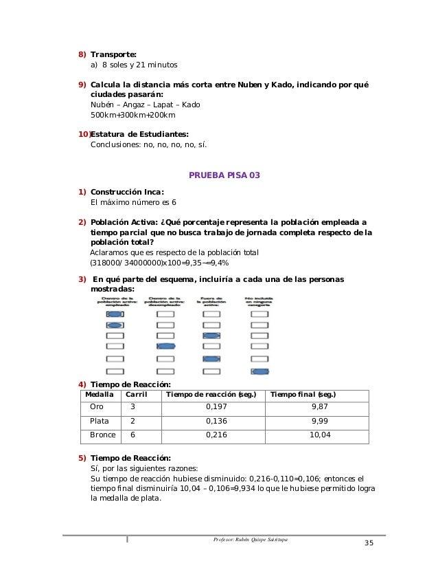 Profesor: Rubén Quispe Sairitupa 35  8) Transporte:  a) 8 soles y 21 minutos  9) Calcula la distancia más corta entre Nube...
